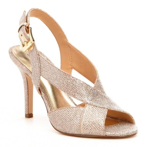 4bf094768f1 Michael Kors Becky Glitter Gold Heel Sling Back MK